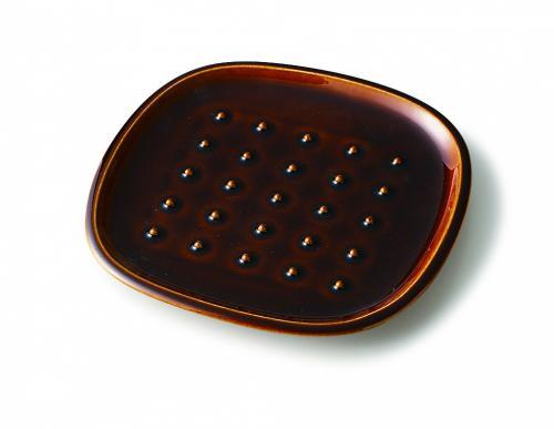 crust パン皿 ドット柄 飴釉